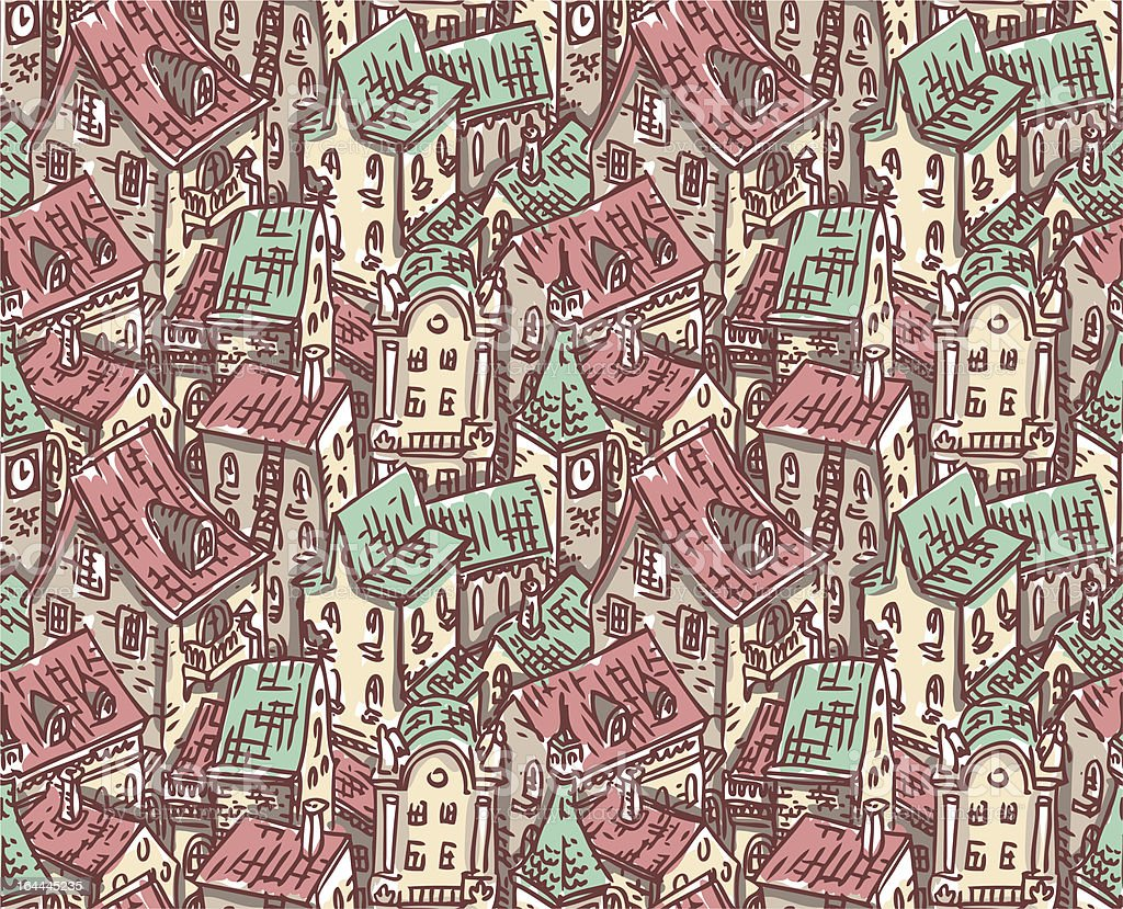 old town pattern vector art illustration