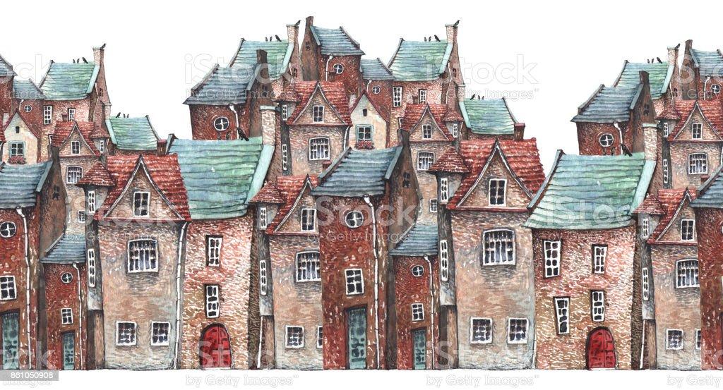 Old town pattern vector art illustration