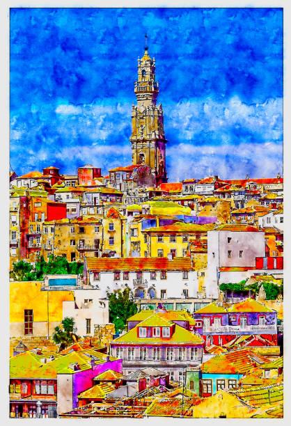 ilustrações de stock, clip art, desenhos animados e ícones de old town porto with tower clerigos (torre dos clerigos) view with colorful houses, portugal. aquarelle (watercolor) sketch. - douro
