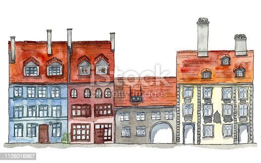 Hand drawn watercolor and ink illustration of the houses in old European town street. Design for tourists goods, backgrounds.