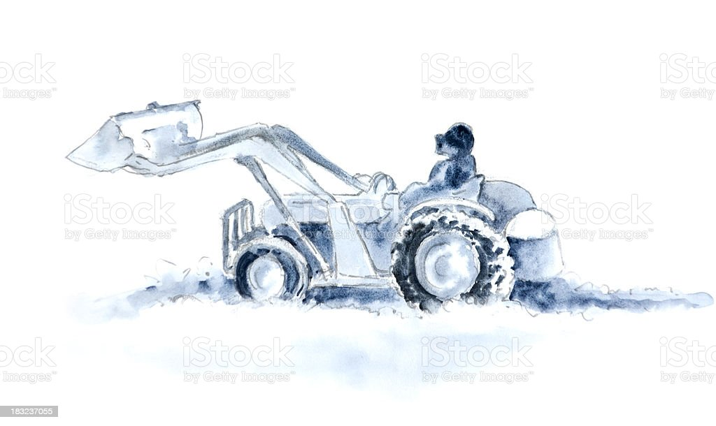 Old Tractor Moving Snow vector art illustration
