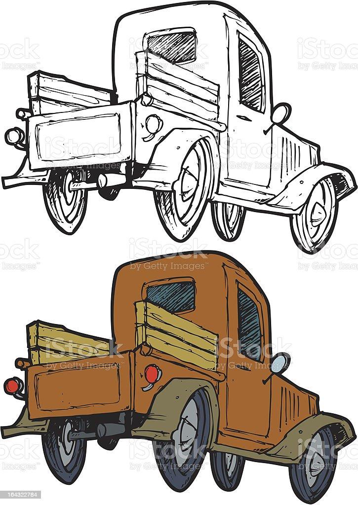 old truck vector art illustration