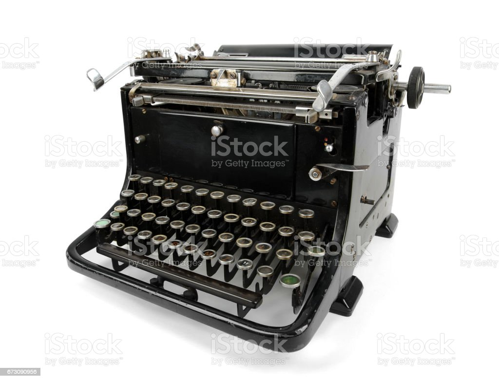 old typewriter isolated on white stock vector art more images of