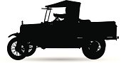 Detailed silhouette of an old vehicle.