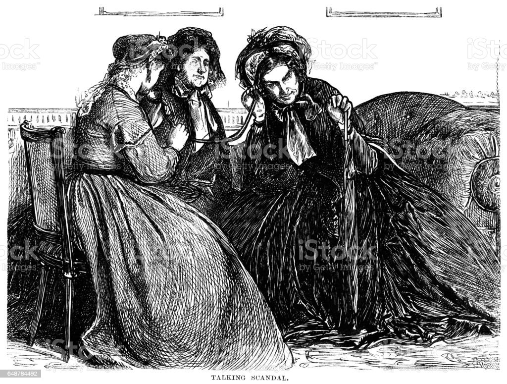Old Victorian lady listening to gossip with an ear-trumpet vector art illustration