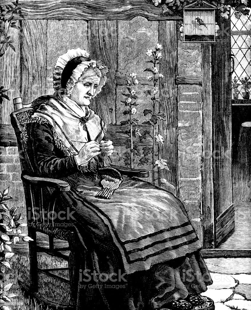 Old Victorian woman sitting outside her cottage, knitting vector art illustration