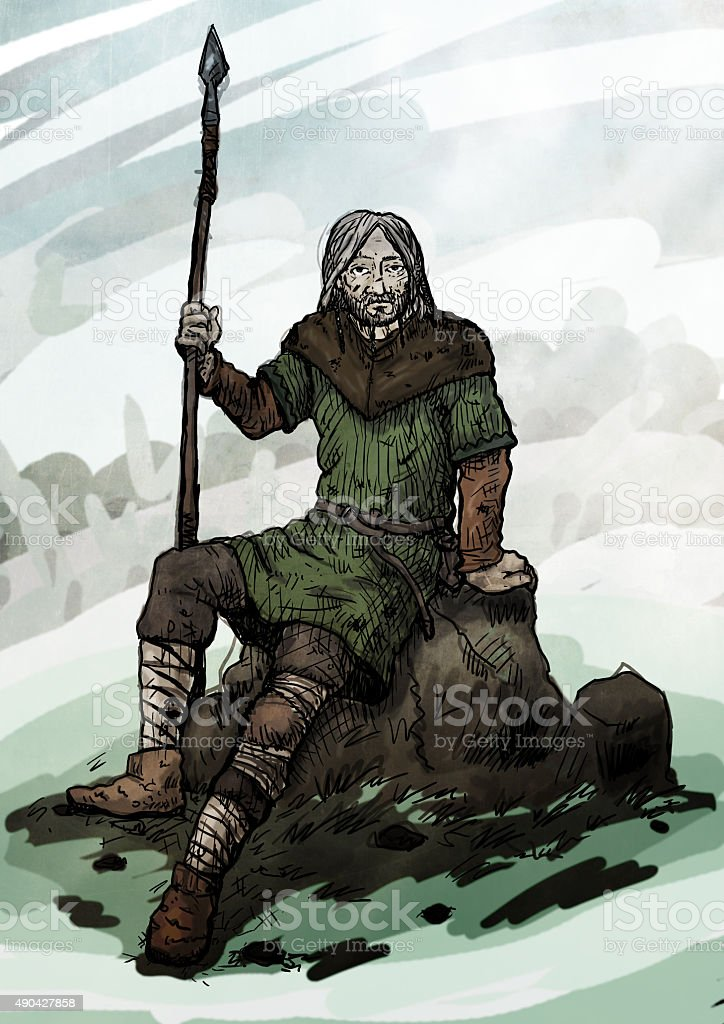 Old viking sitting on a rock vector art illustration