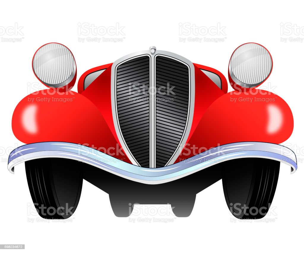 Old vintage model of the car from the front view ilustração de old vintage model of the car from the front view e mais banco de imagens de carro royalty-free