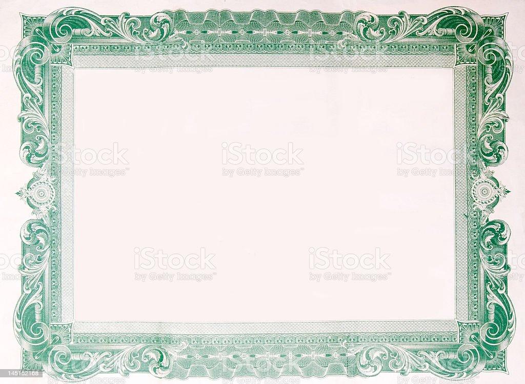 Old Vintage Stock Certificate Empty Boarder vector art illustration