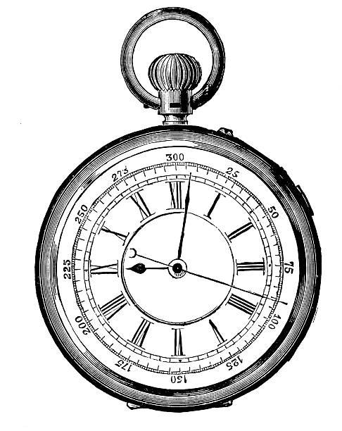 Old watch,19th Century vector art illustration