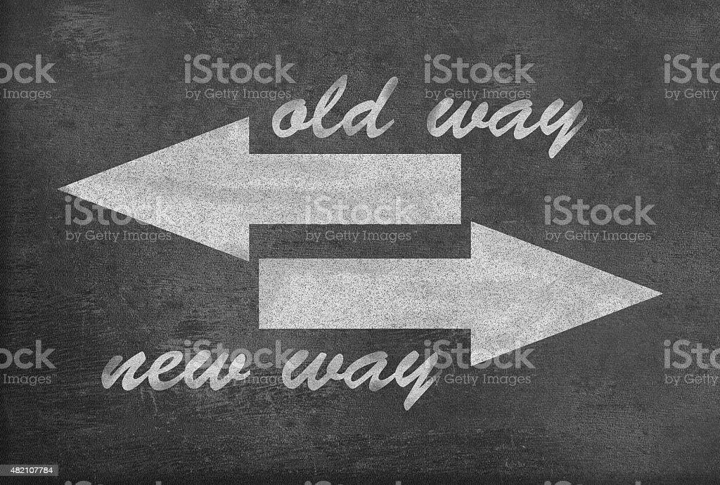 Old Way vs New Way vector art illustration