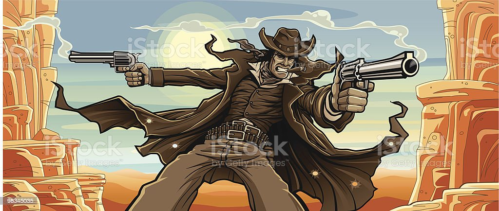 Old West Gunslinger: Mountain Pass Version royalty-free stock vector art