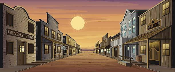 старый запад город - город призрак stock illustrations