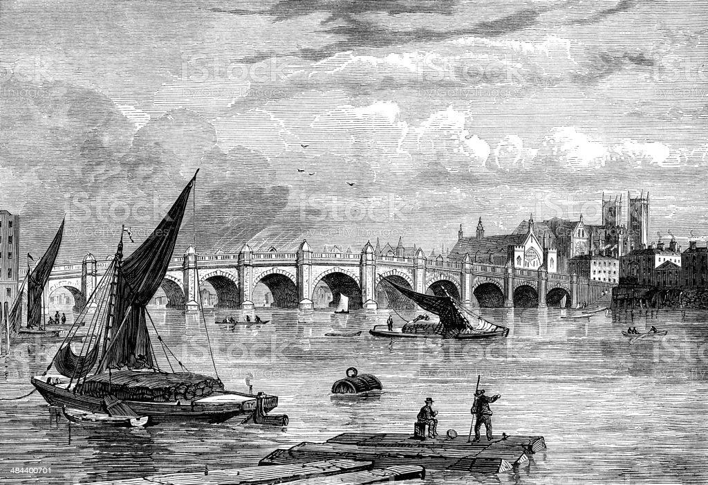 Old Westminster Bridge, London, in 1754 vector art illustration