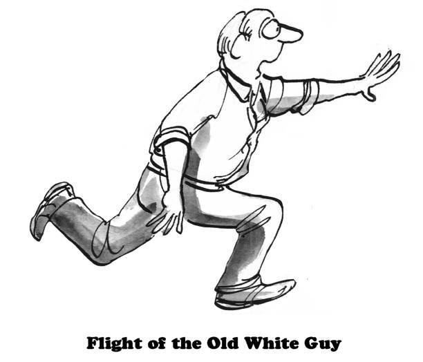 Old White Guy Cartoon illustration of an old white guy running away. discriminatory stock illustrations