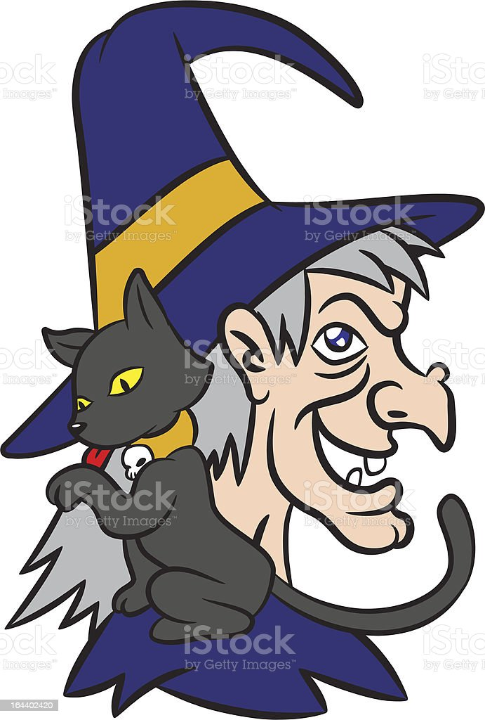Old Witch And Pet Black Cat royalty-free stock vector art