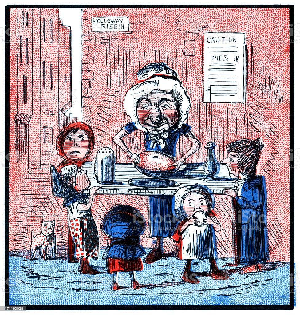 Old woman making pies (Victorian cartoon) royalty-free stock vector art