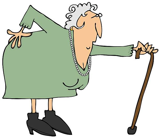 Old woman with a sore back This illustration depicts an old woman bent over with an aching back. sciatica stock illustrations