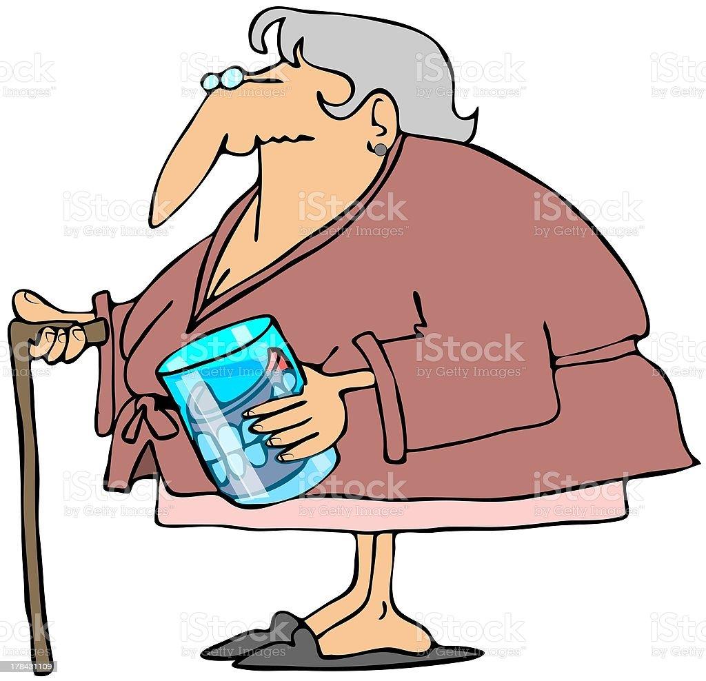 Old woman with teeth in a glass vector art illustration