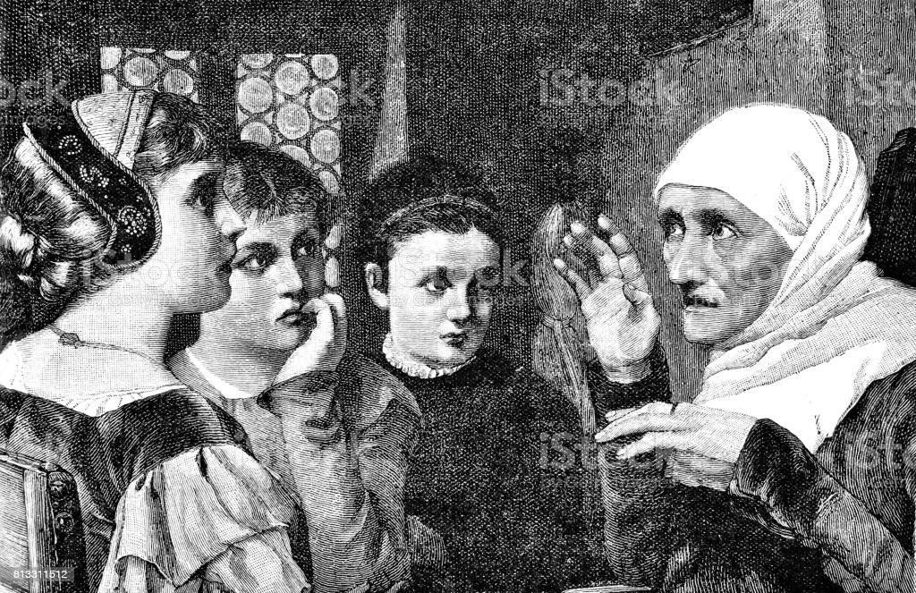 1773cd668ba9 Vieille femme avec foulard blanc, raconter des histoires aux enfants  vieille femme avec foulard blanc