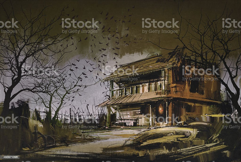 old wooden abandoned house,halloween background vector art illustration