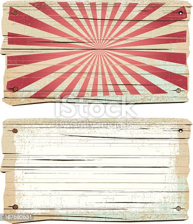 istock Old wooden vintage sign 167592531