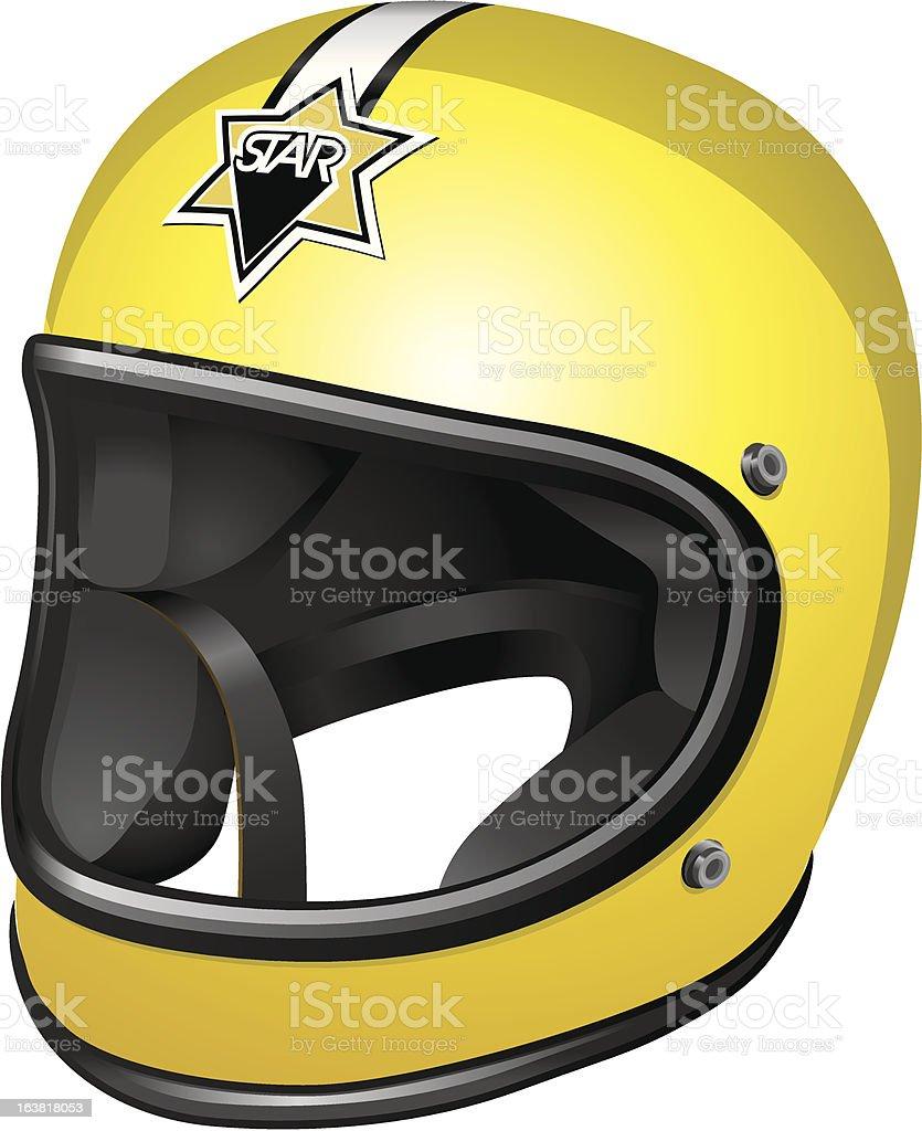 Old yellow crash helmet royalty-free stock vector art