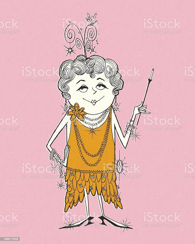 Older Flapper Lady royalty-free older flapper lady stock vector art & more images of addiction