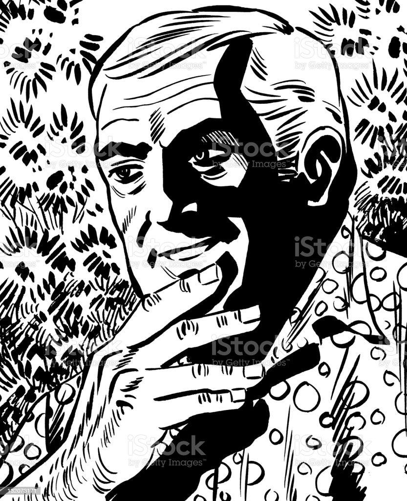 古い男性顎に手をやる 1人のベクターアート素材や画像を多数ご用意