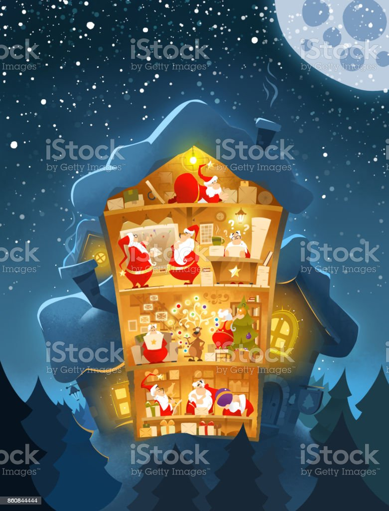 Oldfashioned Christmas New Year Postcard Santas Office Stock Vector ...