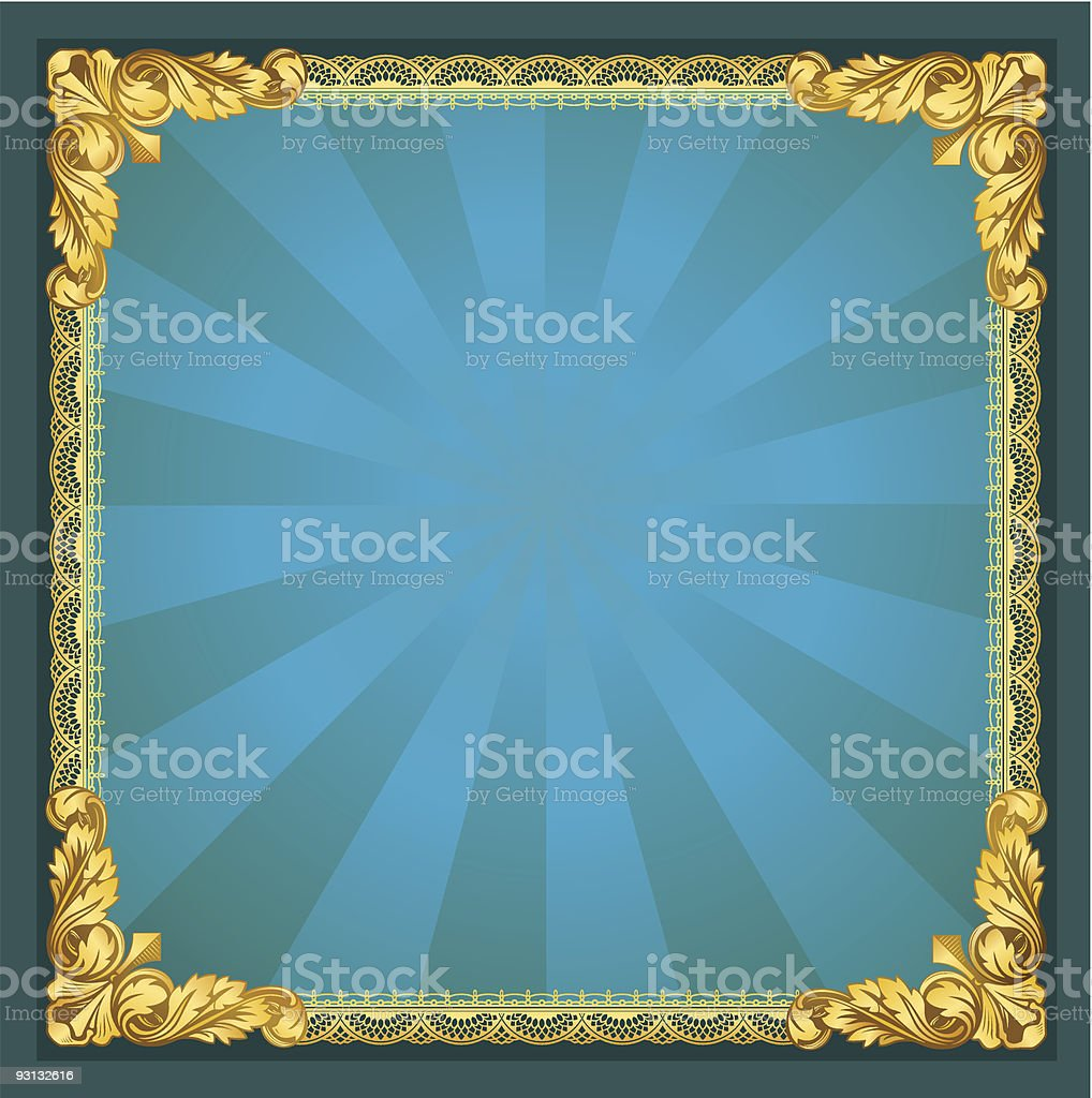 Old-Fasioned Golden Frame vector art illustration
