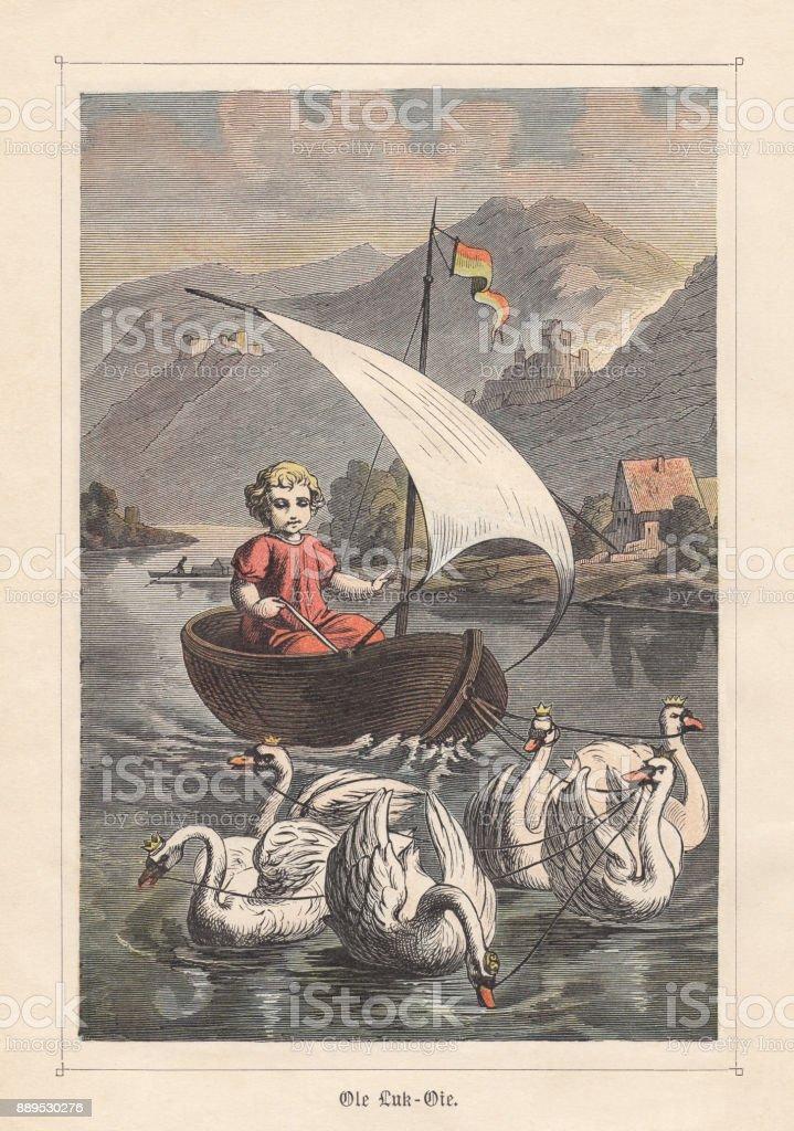 Ole-Luk-Oie (Ole Lukøje), fairy tale by Hans Christian Andersen, published 1883 vector art illustration