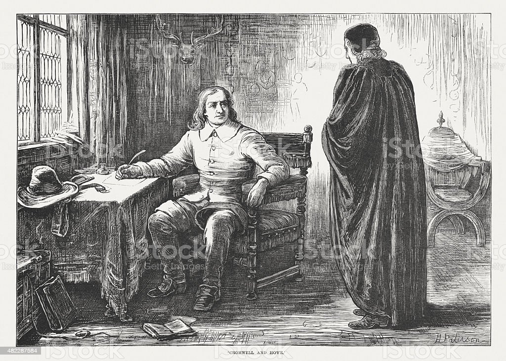 Oliver Cromwell and John Howe, published in 1873 vector art illustration