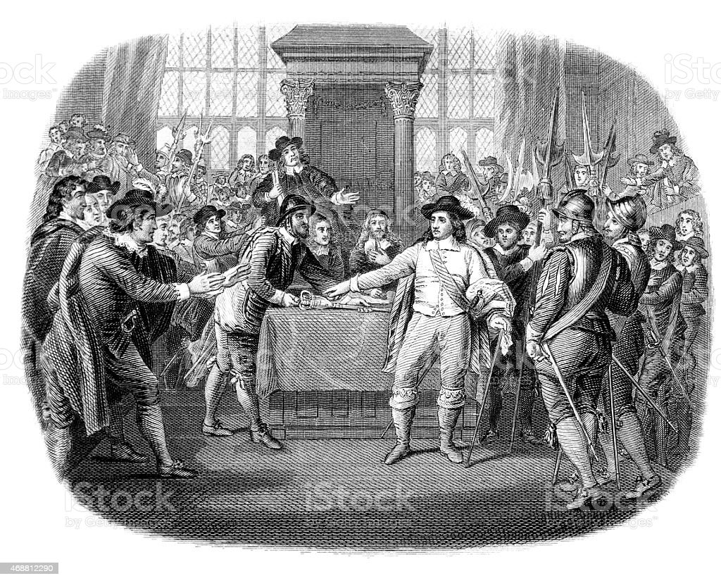 Oliver Cromwell dissolving the Long Parliament vector art illustration