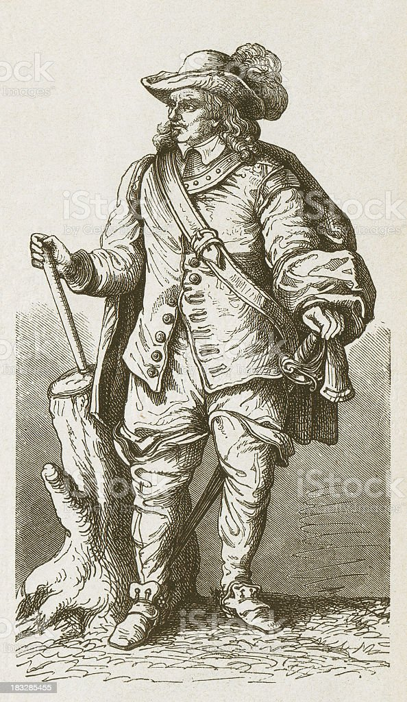 Oliver Cromwell (1599–1658), English military and political leader, published 1877 vector art illustration