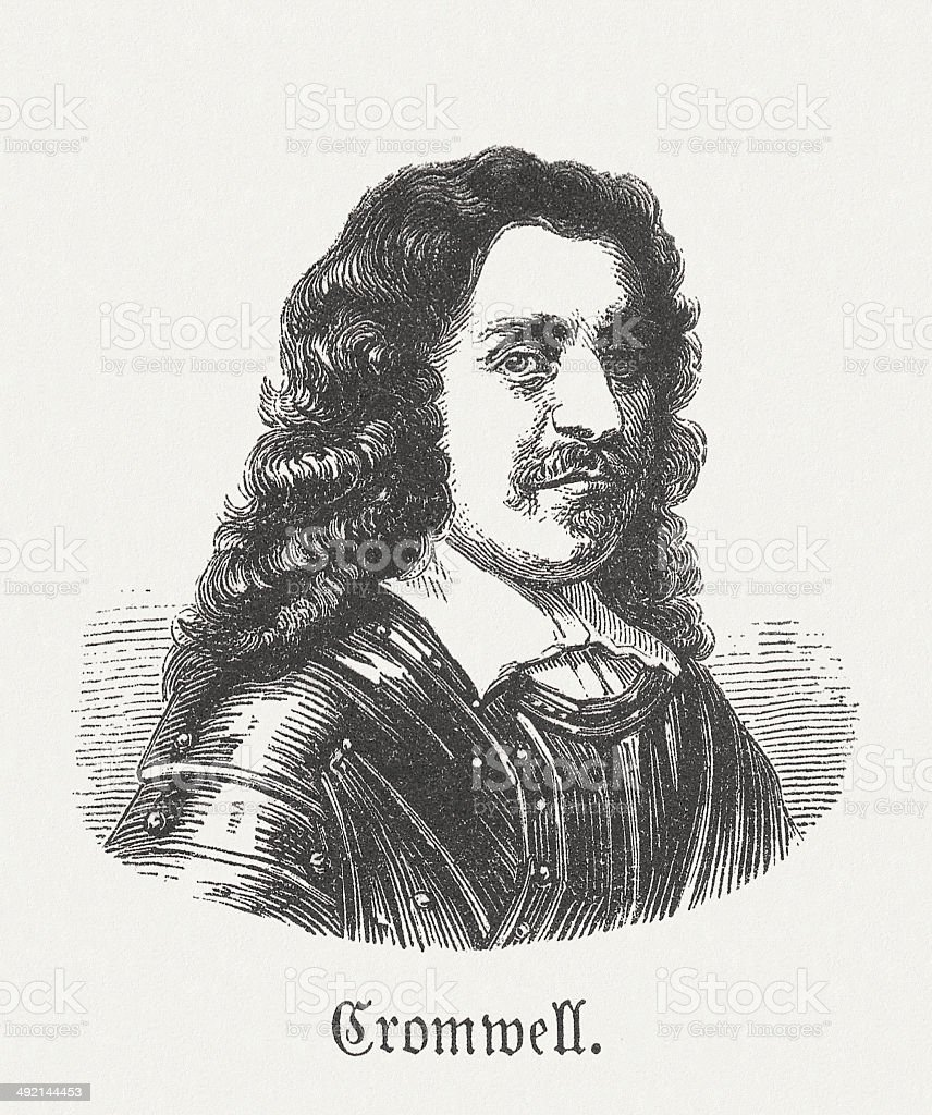 Oliver Cromwell (1599-1658), English military leader, wood engraving, published 1881 vector art illustration