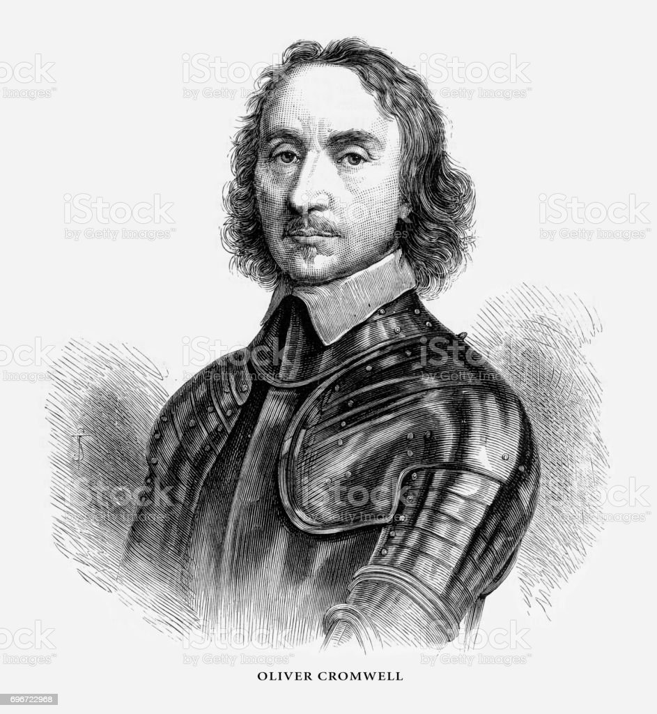 Oliver Cromwell, English Victorian Engraving, 1887 vector art illustration