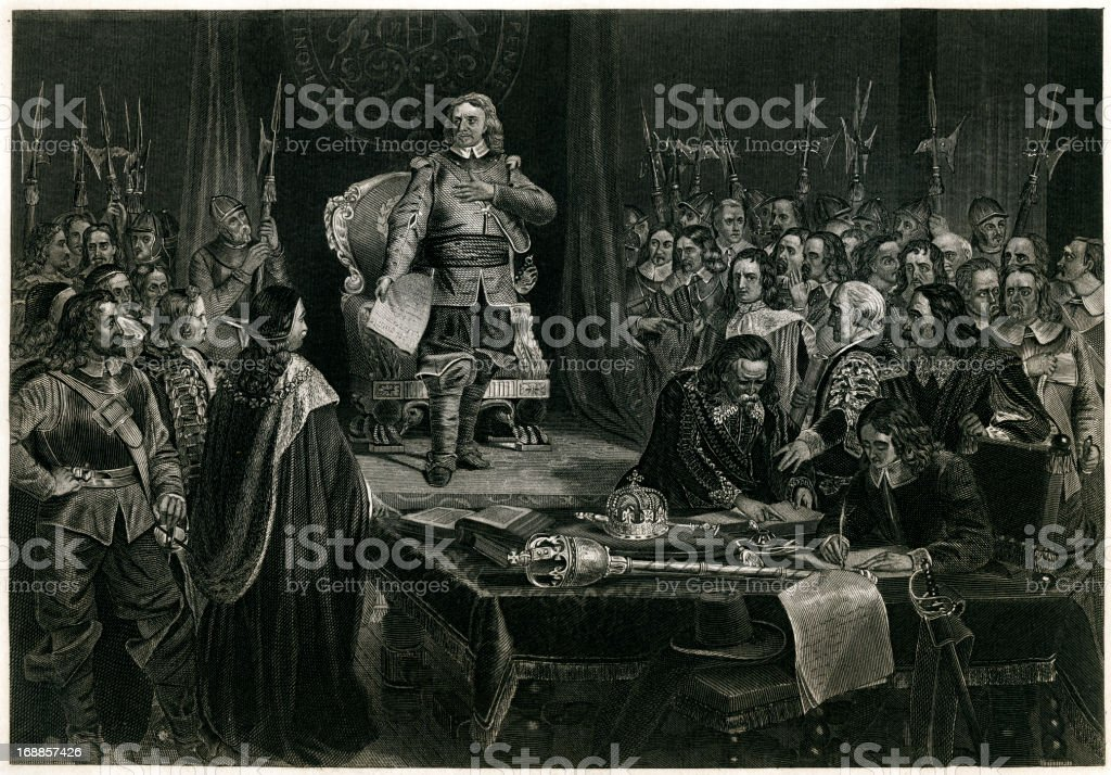 Oliver Cromwell Refusing The Crown Of England royalty-free stock vector art