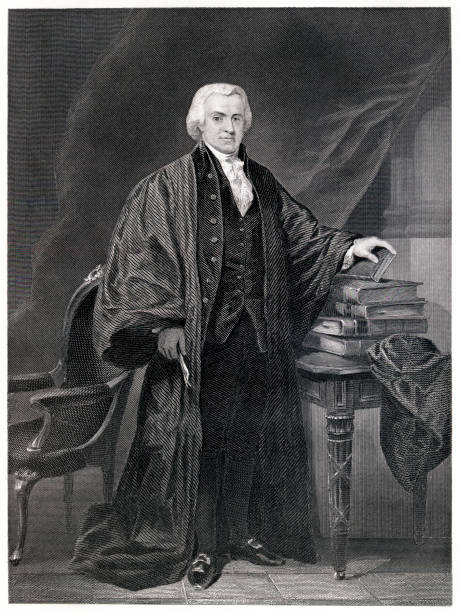 Oliver Ellsworth Engraving From 1867 Featuring The 3rd Chief Justice Of Supreme Court And An American Statesman, Oliver Ellsworth.  Ellsworth Lived From 1745 Until 1807. supreme court stock illustrations