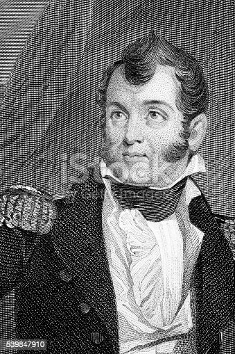 Oliver Hazard Perry ( 1785 – 1819) was an American naval commander. An image of an original engraving from the