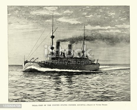 Vintage illustration of USS Olympia (C-6) a protected cruiser that saw service in the United States Navy