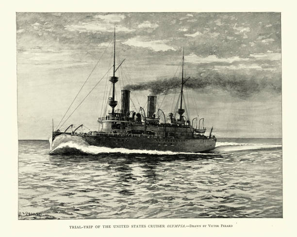 USS Olympia (C-6), protected cruiser, United States Navy, 1890s vector art illustration