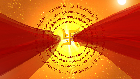 om Hinduism  religious background is perfect for any type of news or information presentation. The background features a stylish and clean layout