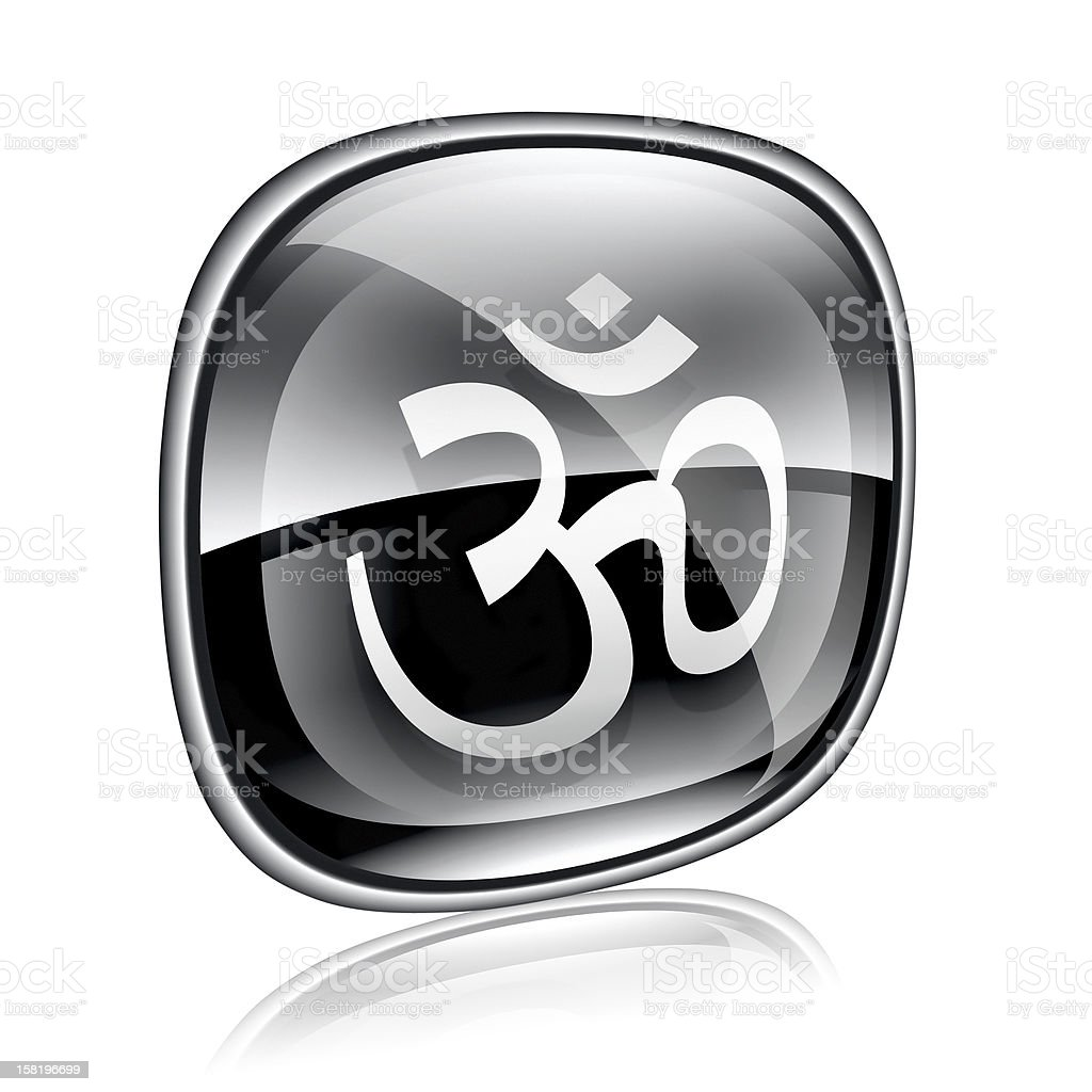 Om Symbol icon black glass, isolated on white background. royalty-free om symbol icon black glass isolated on white background stock vector art & more images of black color
