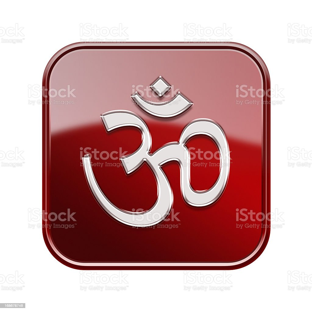Om Symbol icon glossy red, isolated on white background royalty-free stock vector art