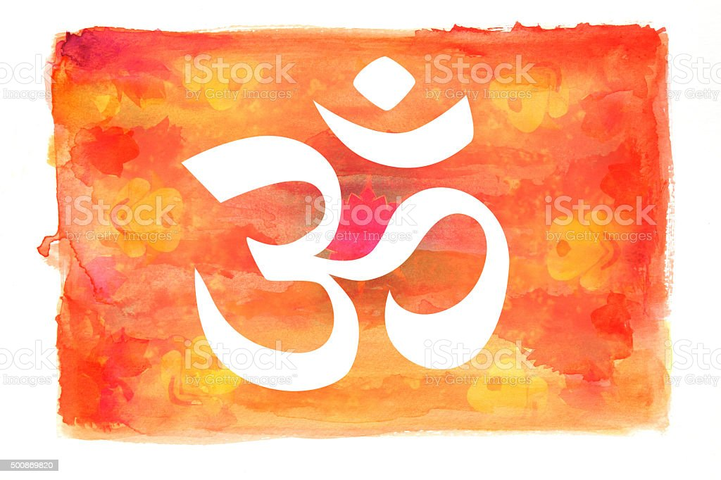 Om symbol on a painted watercolor background vector art illustration