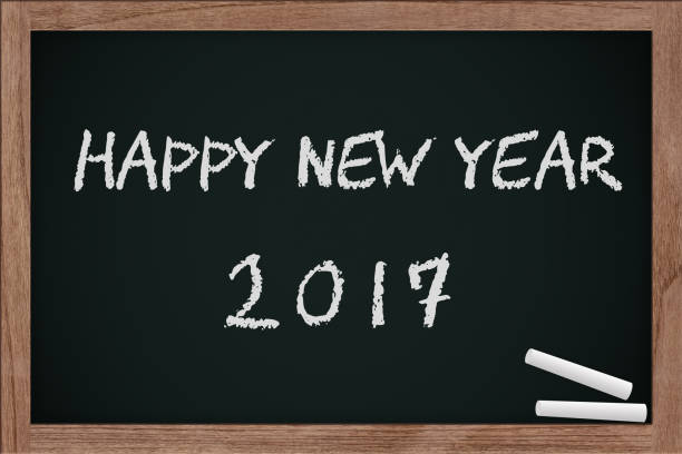2017 on chalkboard, chalk board with chalk dirty vector art illustration