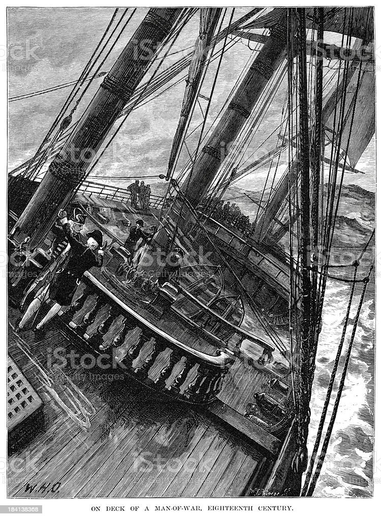 On deck of a Man-of-War vector art illustration