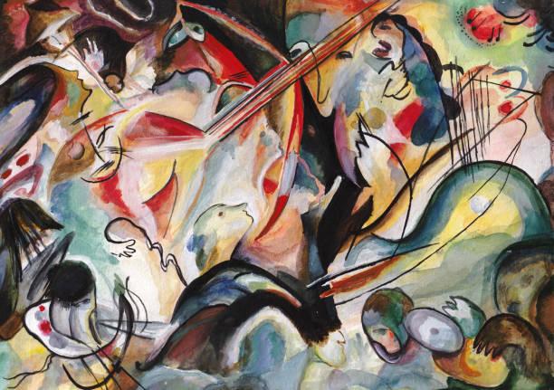 On Kandinsky's motives Performance of chorus with an orchestra, oratorio modern art stock illustrations