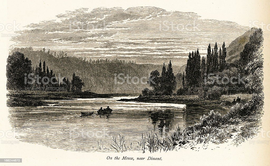 On the Meuse River, Dinant, Belgium (antique wood engraving) royalty-free stock vector art